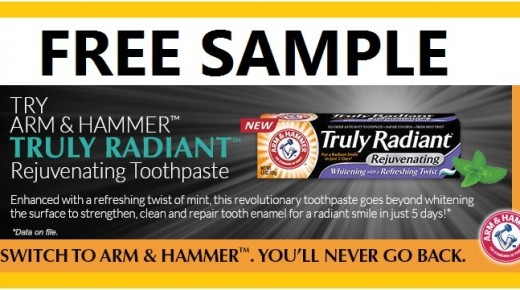 Arm And Hammer Truly Radiant Rejuvenating Toothpaste FREE Sample